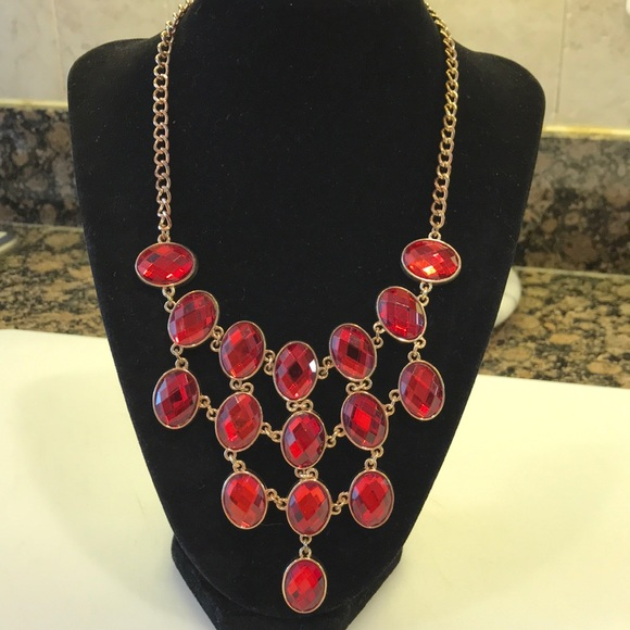 Ruby Red & Gold Statement Necklace